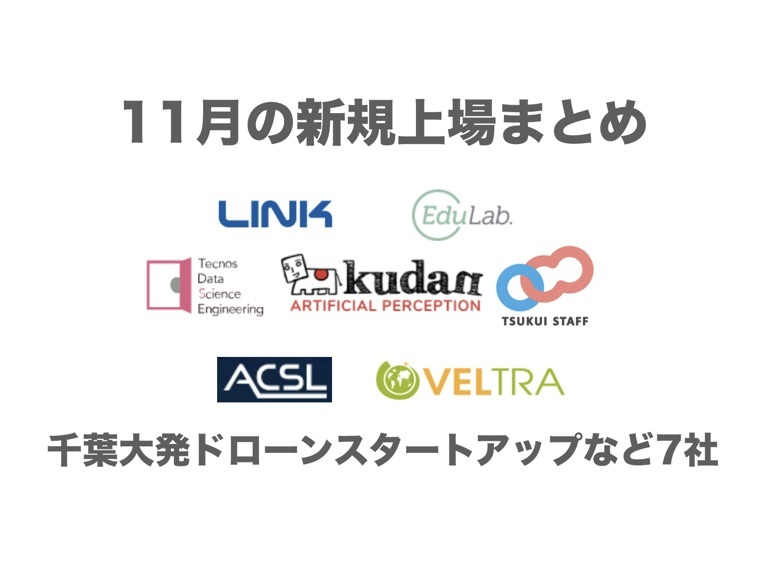 千葉大発ドローンスタートアップなど7社!11月の新規上場企業まとめ①