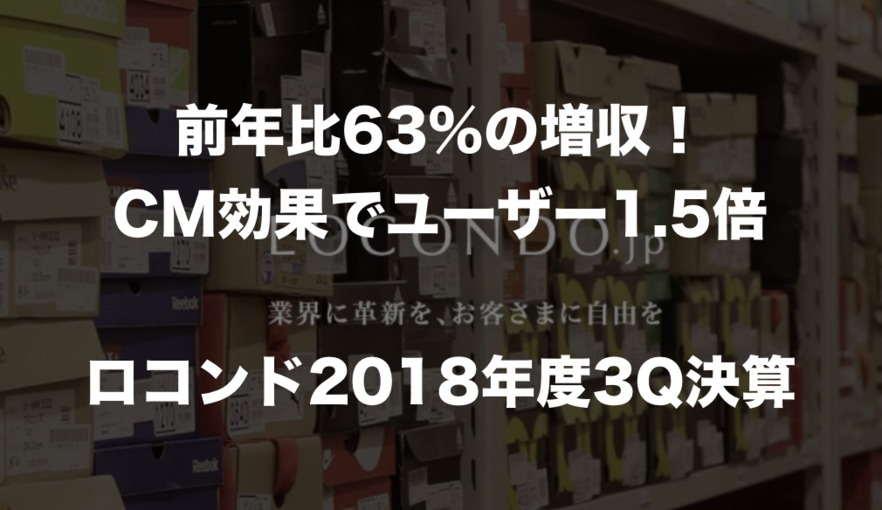 前年比63%の増収!TVCM効果でユーザー1.5倍に拡大した「ロコンド」2018年度3Q決算まとめ