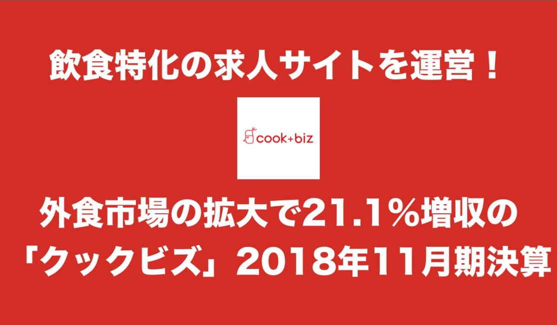 飲食特化の求人サイトを運営!外食市場の拡大で21.1%増収の「クックビズ」2018年11月期決算