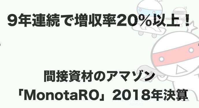 9年連続で増収率20%以上!間接資材のアマゾン「MonotaRO」18/12期本決算