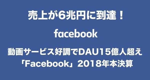 売上6兆円に到達!動画サービス好調でDAU15億人超えの「Facebook」2018年本決算