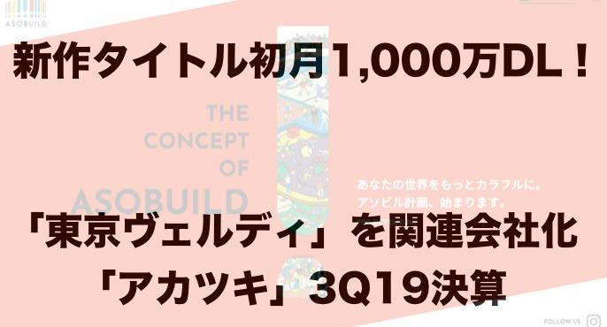 新作タイトルが初月1,000万DL!「東京ヴェルディ」を関連会社化した「アカツキ」3Q19決算