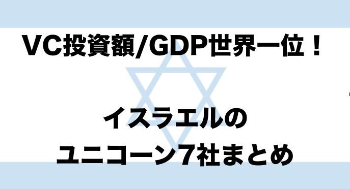 VC投資額/GDPで世界一位!イスラエルのユニコーン7社まとめ