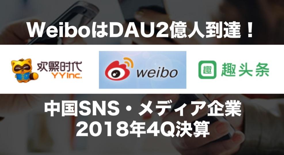 「Weibo」「YY」「QuToutiao」ユーザー数が伸び続ける中国SNS・メディア企業最新決算