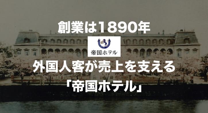 日本を代表する高級ホテル 外国人客の割合が49%にまで上昇した「帝国ホテル」