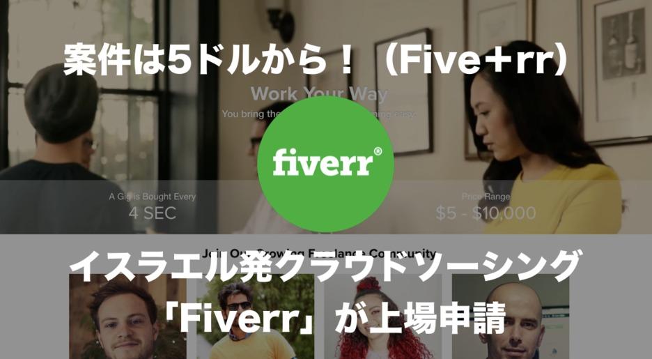 案件は5ドルから!イスラエル発のクラウドソーシングサイト「Fiverr」が上場申請