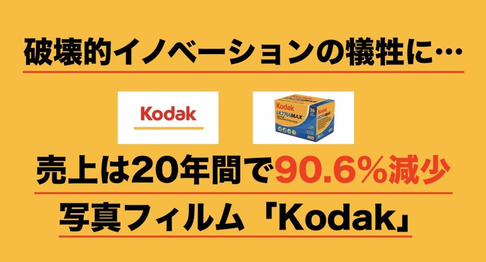 破壊的イノベーションの犠牲に...売上は20年間で売上90.6%減少「Kodak」