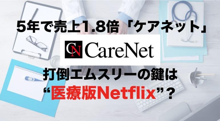 """5年で売上1.8倍「ケアネット」 打倒エムスリーの鍵は""""医療版Netflix""""?"""